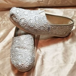 Toms Silver with White Lace Loafers